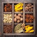 Assorted colorful spices in an old wooden box Royalty Free Stock Images