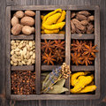 Assorted colorful spices in vintage  wooden box Royalty Free Stock Photo