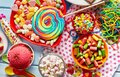 Assorted, colourful kids party sweets and candy Royalty Free Stock Photo