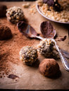 Assorted dark chocolate truffles Royalty Free Stock Photo