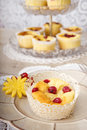Assorted desserts and fruits an assortment of baked dessert cupcakes a cookie garnished with fruit Royalty Free Stock Photography