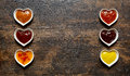 Assorted dips and sauces in a double banner Royalty Free Stock Photo