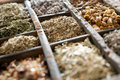 Assorted dried herbs in a printers tray Royalty Free Stock Photo