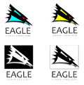 Assorted eagle profile logo designs four modern with text words Stock Photos
