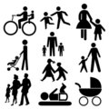 Assorted family silhouettes Stock Photography