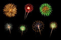 Assorted Fireworks on a Black Background Royalty Free Stock Photo