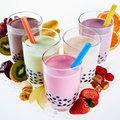 Assorted flavors of milky bubble or boba tea Royalty Free Stock Photo