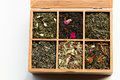 Assorted flavors tea box closeup Royalty Free Stock Photos