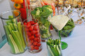 Assorted fresh vegetables with dip baby shower party Royalty Free Stock Photos