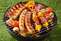 Assorted grilled meat on a summer barbecue Royalty Free Stock Photo