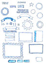 Assorted hand-drawn web graphics elements doodles Royalty Free Stock Photo