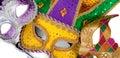 Assorted mardi gra masks on white Royalty Free Stock Photo