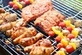 Assorted meat on bbq grill Royalty Free Stock Photo