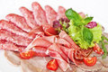 Assorted meat delicatessen with lettuce and cherry tomatoes Royalty Free Stock Photos