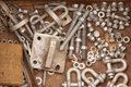 Assorted metal hardware for maintenance work Stock Images
