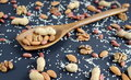 Assorted mixed nuts, peanuts, almonds, walnuts and sesame seeds. Royalty Free Stock Photo
