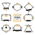 Assorted modern tribal out line shapes labels and emblems set on white background Stock Image