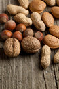 Assorted nuts almond, hazelnut and peanut Royalty Free Stock Photos