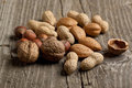 Assorted nuts almond, hazelnut, walnut and peanut Royalty Free Stock Photography