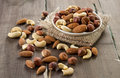 Assorted nuts almonds hazelnuts cashews peanuts Royalty Free Stock Image
