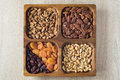 Assorted nuts and dried fruits in wooden box Royalty Free Stock Photo