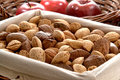 Assorted nuts healthy snack food in linen basket assortment of a lined with almonds and walnuts and hazelnuts and chestnuts and Royalty Free Stock Photography