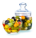 Assorted olives in a glass Royalty Free Stock Photo
