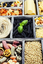 Assorted pastas in wooden box Stock Photo