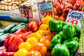 Assorted peppers for sale Royalty Free Stock Photo