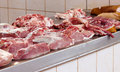 Assorted raw meat at the market selective focus Stock Photography