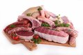 Assorted raw meat on white background Stock Photos