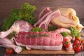 Assorted raw meats Royalty Free Stock Photo