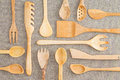 Assorted set of wooden kitchen utensils Royalty Free Stock Photo