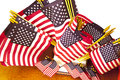 Assorted sizes of american flags page assortd for sale Stock Images
