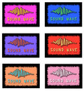 Assorted sound wave logo designs six different logos with waves and words for logos or slogans Stock Images