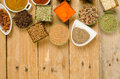 Assorted spices background a food with copy space Stock Images