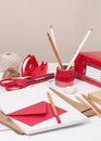 Assorted stationery items on desk Stock Image