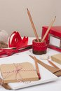 Assorted stationery items on desk Stock Photography
