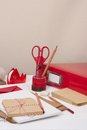 Assorted stationery items on desk Stock Photos