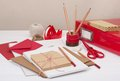 Assorted stationery items on desk Stock Images
