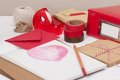 Assorted stationery items on desk Royalty Free Stock Image