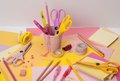 Assorted stationery items on a desk Royalty Free Stock Image