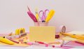 Assorted stationery items on a desk Stock Images