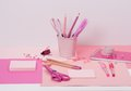 Assorted stationery items on a desk Royalty Free Stock Photos