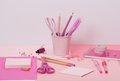 Assorted stationery items on a desk Stock Photography