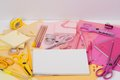 Assorted stationery items on a desk Royalty Free Stock Photo