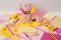 Assorted stationery items on a desk Stock Image