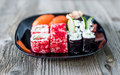 Assorted sushi on a plate Royalty Free Stock Photo