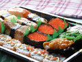 Assorted sushi platter with salmon roe Royalty Free Stock Photo