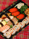 Assorted sushi platter salmon roll rainbow rolls Royalty Free Stock Photo